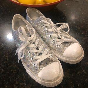 Converse all star silver sparkle shoe